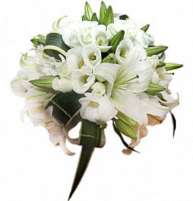 Длинный букет из лилий и ромашек, искусственные цветы на свадьбу оптом